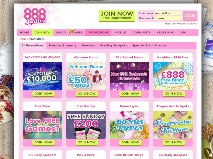 Bonus offers 888 Ladies Bingo